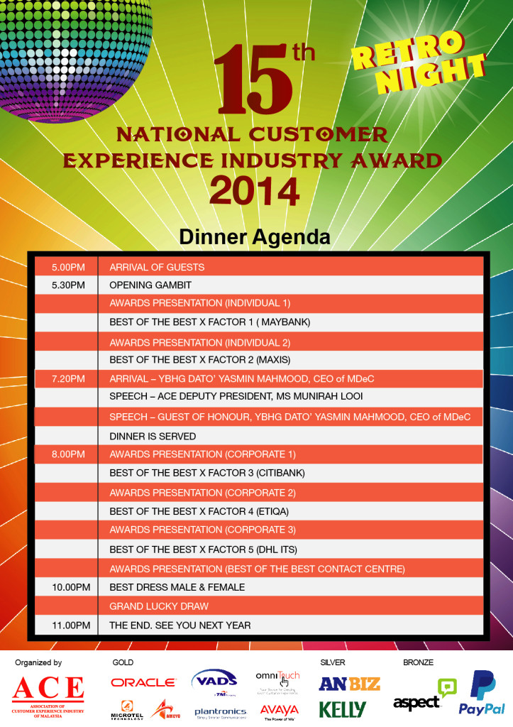 15th National Customer Experience Industry Award Dinner Agenda 2014