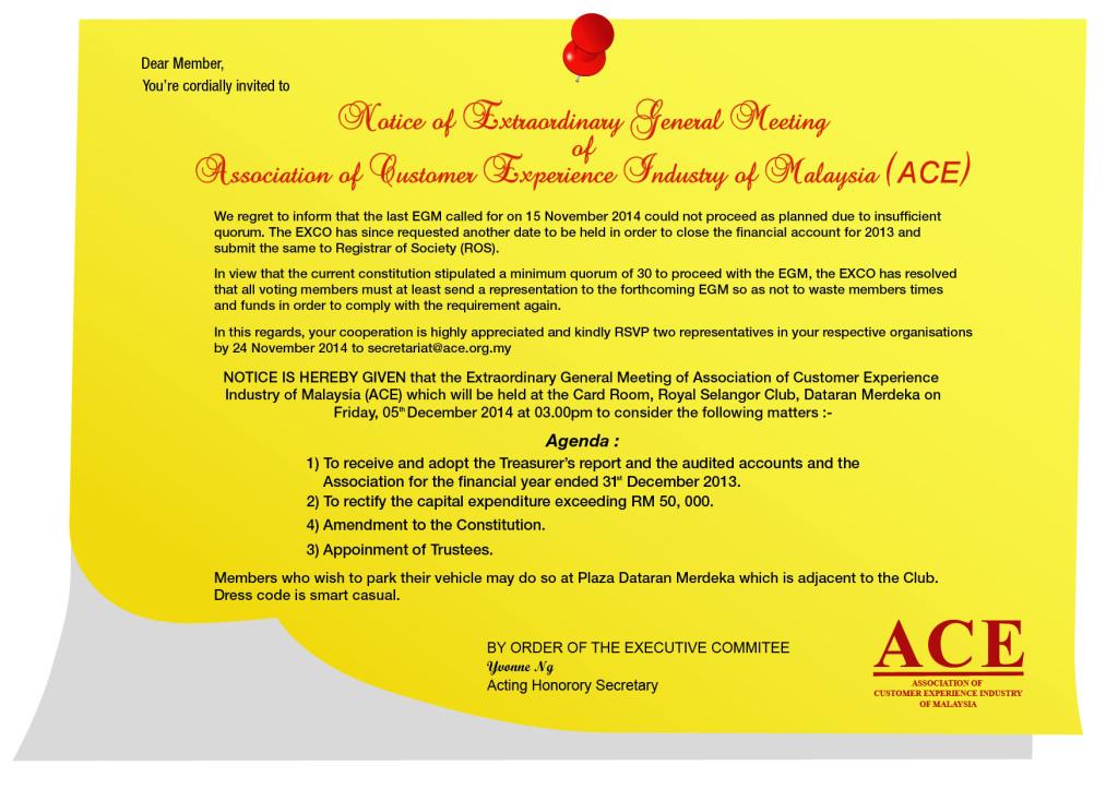 Notice Of Extraordinary General Meeting (EGM)